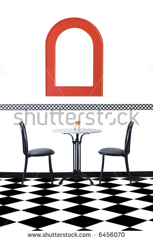 Vibrant Clean Cafe Setting With Black And White Checkered Floors.