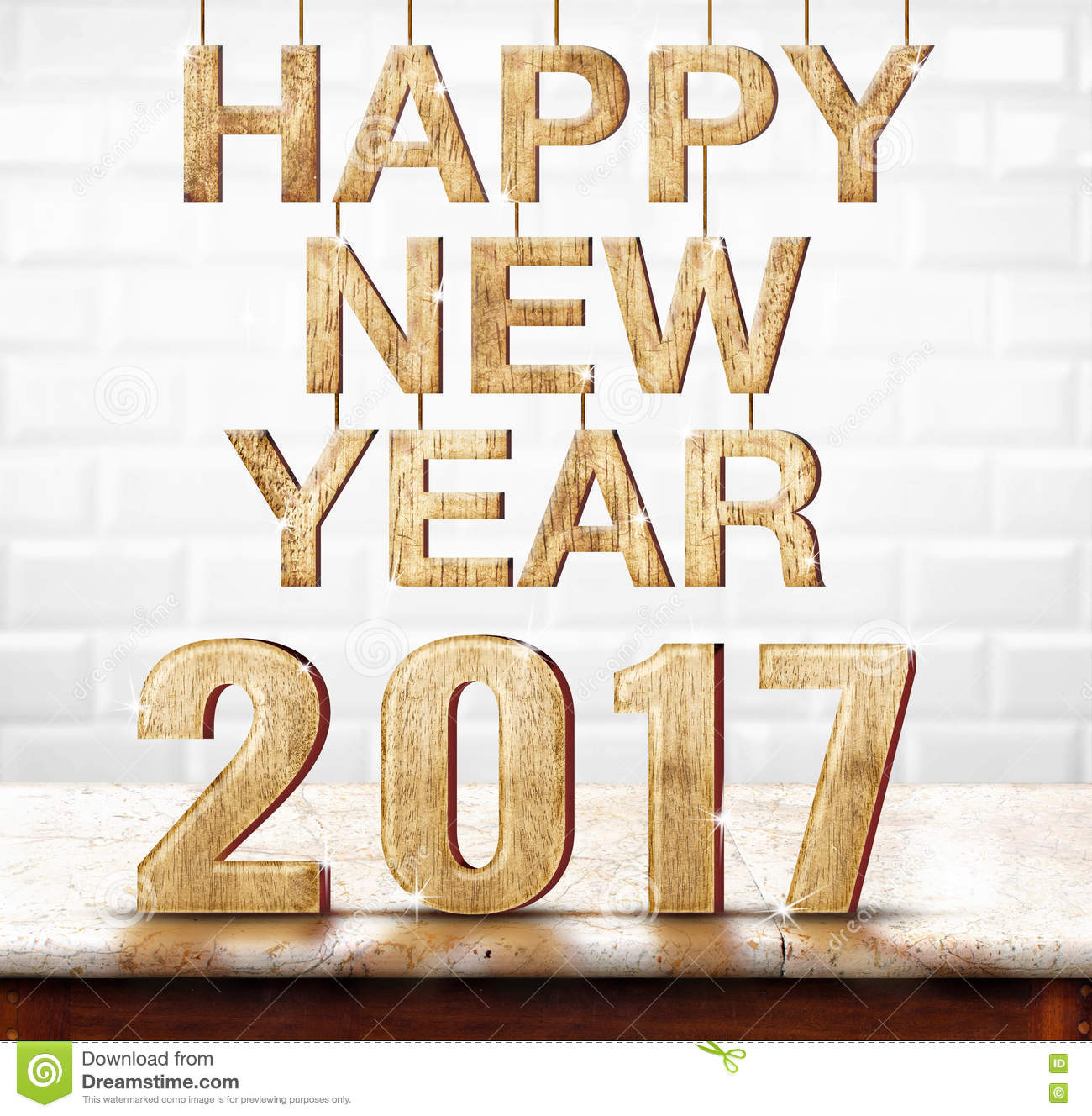 Happy New Year 2017 Wood Texture On Marble Table With White Cera.