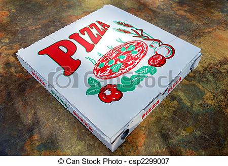 Picture of pizza box lying on a marble table csp2299007.