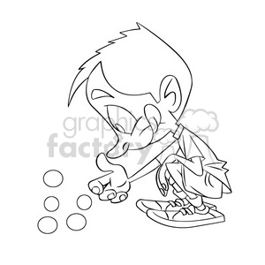 black and white image of boy playing marbles nino jugando canicas negro  clipart. Royalty.