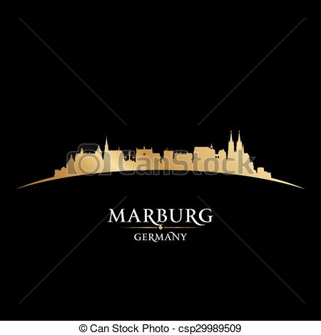 Vector Clipart of Marburg Germany city skyline silhouette black.