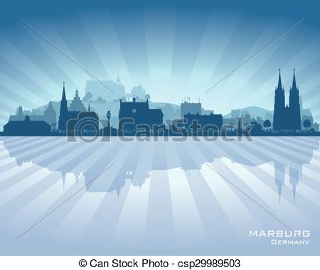 Vector Clipart of Marburg Germany city skyline vector silhouette.
