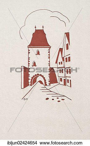 Stock Photo of Sgraffito of the Marburg Gate from the '50s, town.