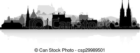 Vector Clipart of Marburg Germany city skyline silhouette.