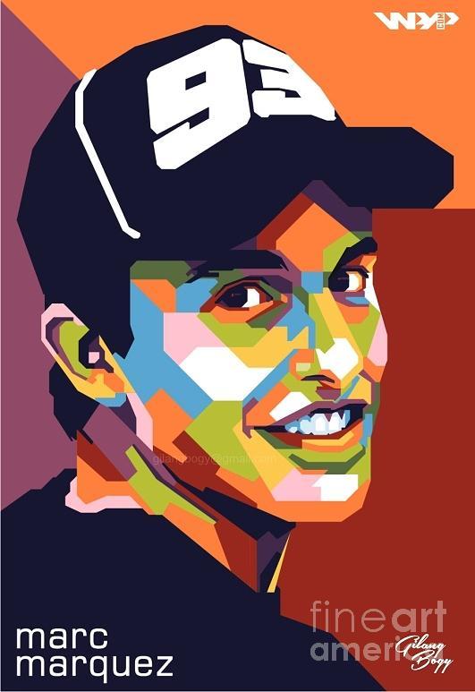 Marc Marquez In Wpap Digital Art by Gilang Bogy.