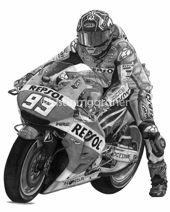 Items similar to Marc Marquez Motorcycle Drawing Art Print #MM93.
