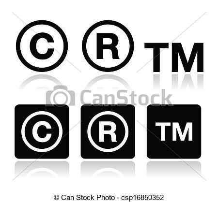 Derecho de autor, marca registrada iconos vectoriales.