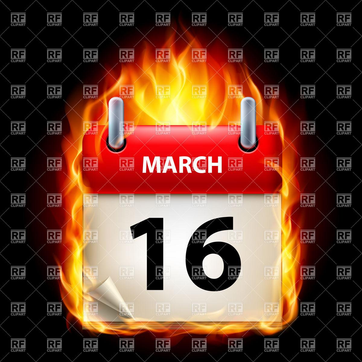 Fiery calendar icon March 16 Vector Image #8901.