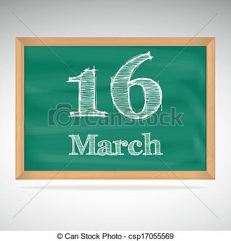 Clip Art Vector of March 16, inscription in chalk on a blackboard.