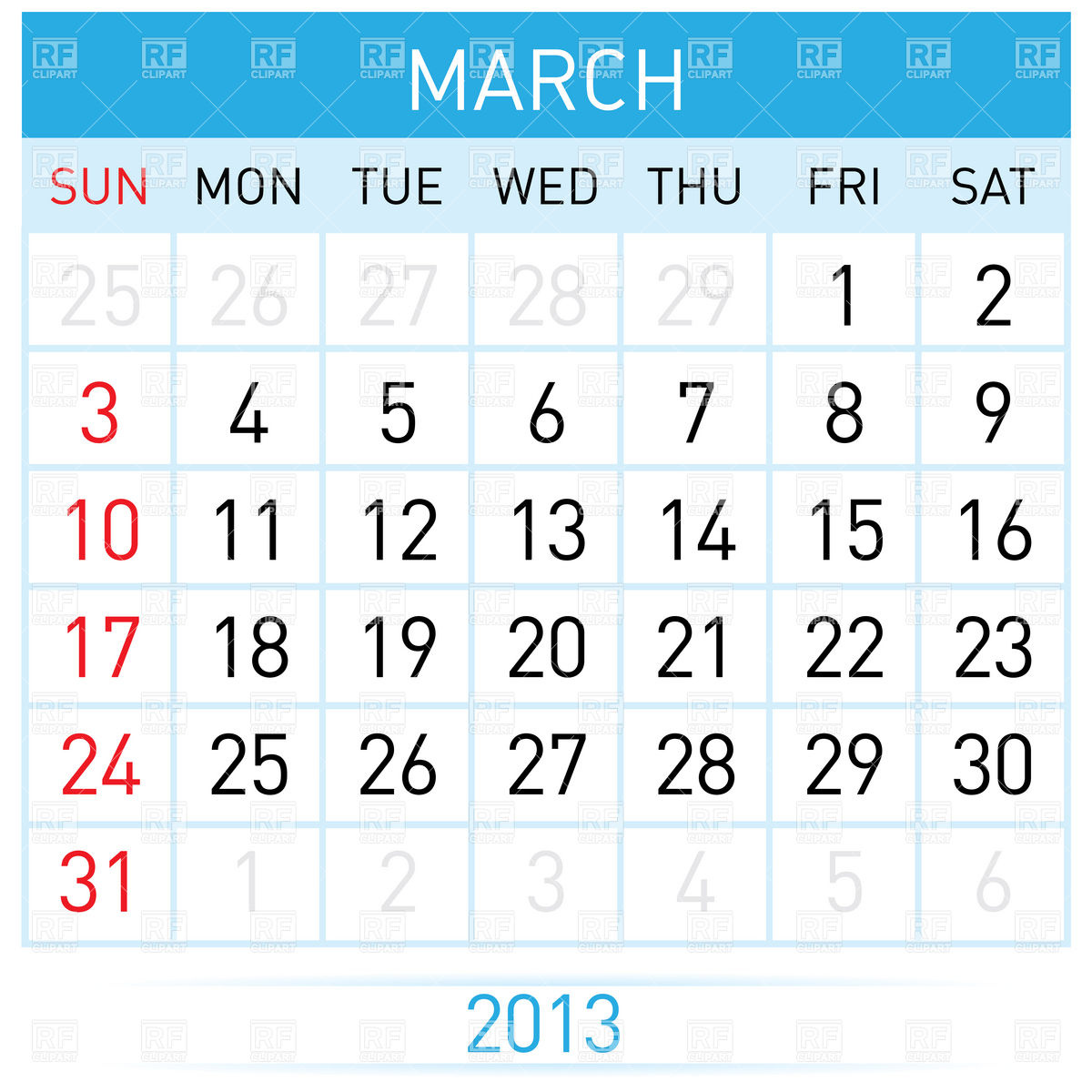 March 2013 month calendar Vector Image #7023.
