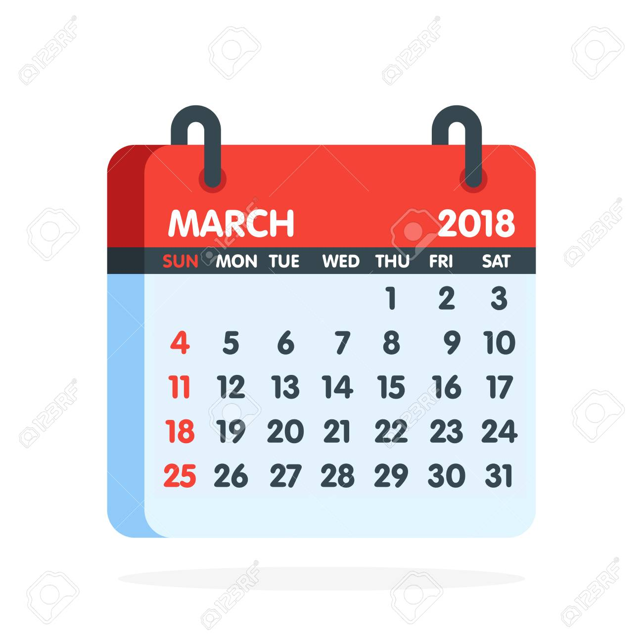 Calendar for 2018 year. Full month of March icon. Vector illustration..