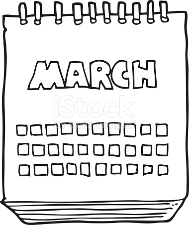 Black And White Cartoon March Calendar stock vector art 518903214.
