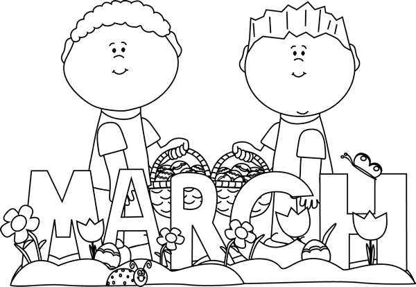 March Black And White Clipart.