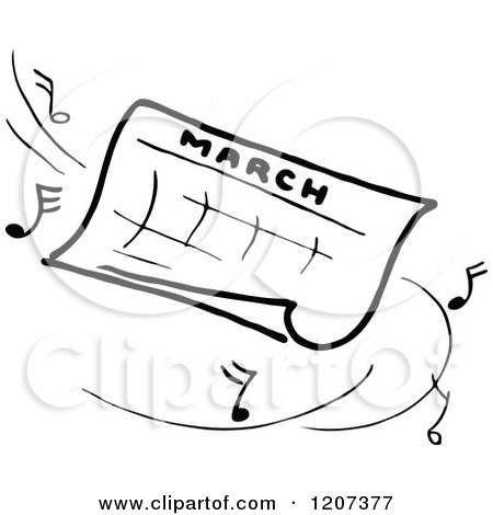 Clipart of a Vintage Black and White March Calendar with Music.