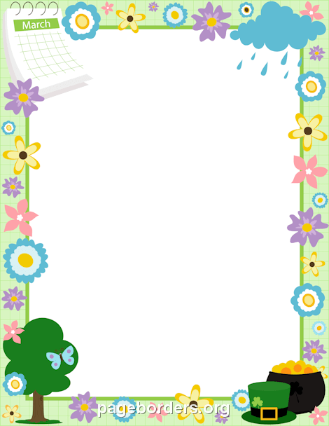 March Border: Clip Art, Page Border, and Vector Graphics.