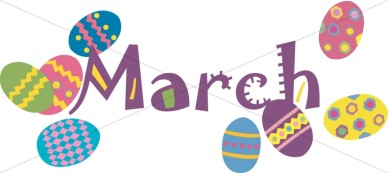 Colorful march easter eggs christian calendar clipart.