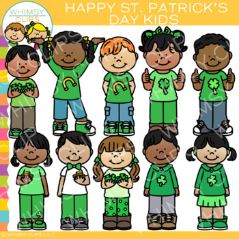 Happy St. Patrick\'s Day Kids Clip Art {March Clip Art} by.