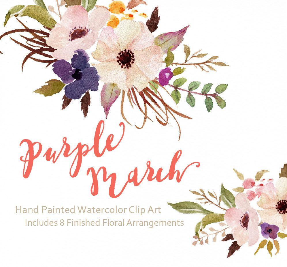 Watercolor flower Clip Art.