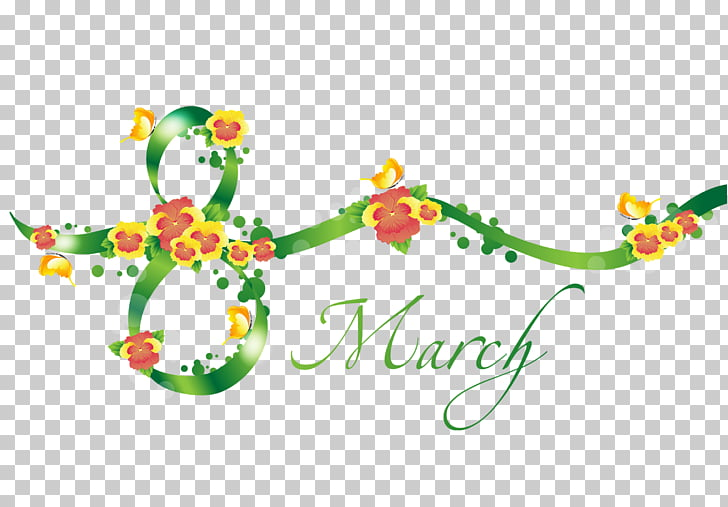 March , Green 8 March Text Decor , March and flowers PNG.