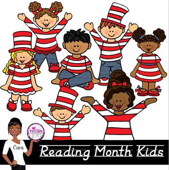 Clip Art~ March Reading Month Kids.