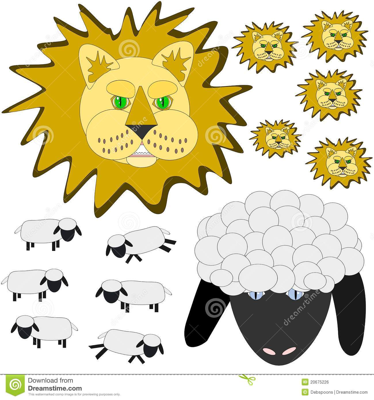 March lion and lamb stock vector. Illustration of.