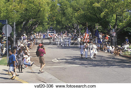Stock Images of Marchers in July 4th Parade, Pacific Palisades.