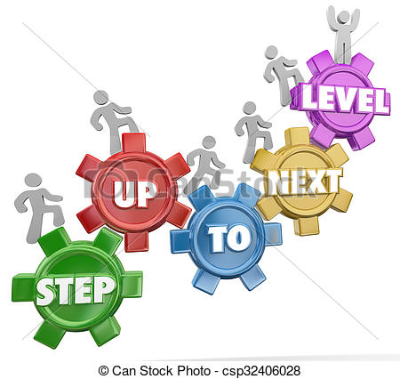 Stock Photo of Step Up to Next Level Gear Marchers Rising Success.