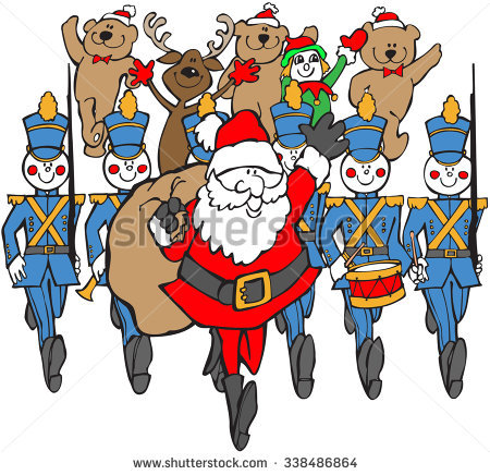 Colored Cartoon Of Santa And Marchers In Christmas Parade Stock.