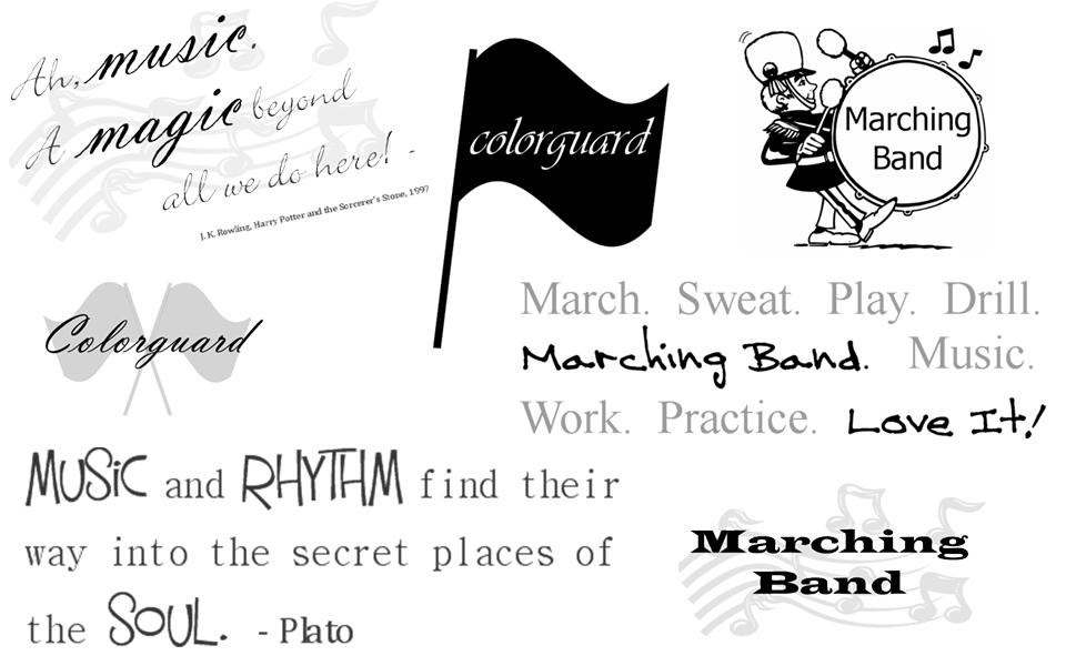 Marching Band Digital Scrapbooking Word Art.
