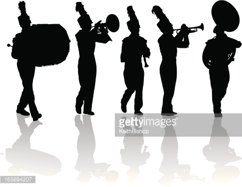 Marching Band Silhouette Vector Art.