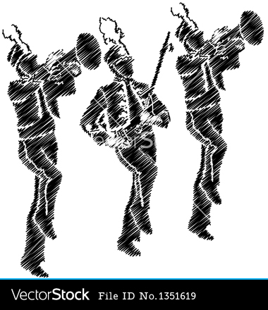 Marching Band Silhouette Clipart.
