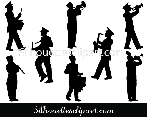 Marching Band Silhouette Vector Download Free.