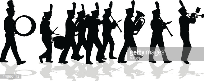 Marching Band Silhouette Full Lineup Vector Art.