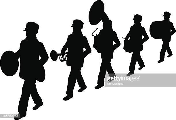 Marching Band Vector Silhouette Vector Art.