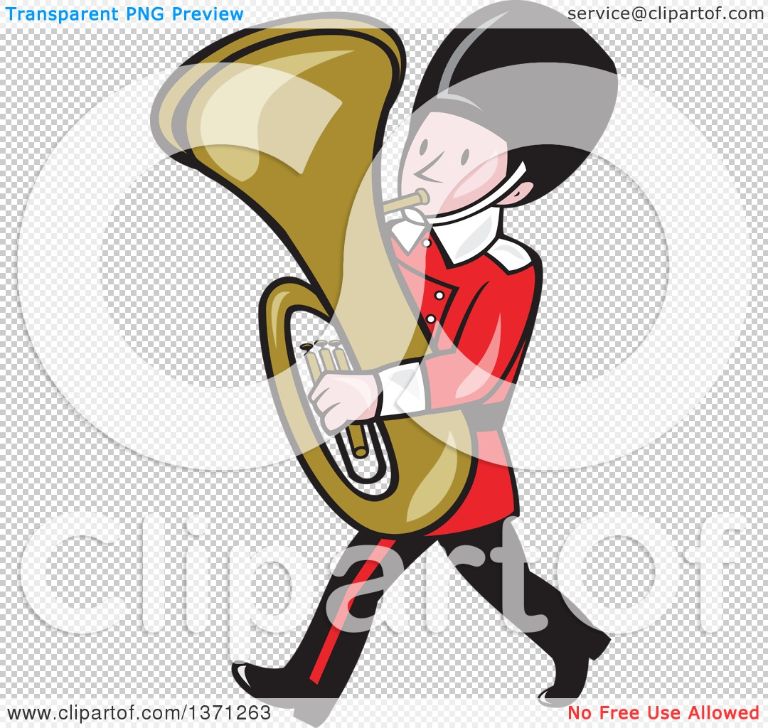 Clipart of a Cartoon Marching Band Member Playing a Tuba.