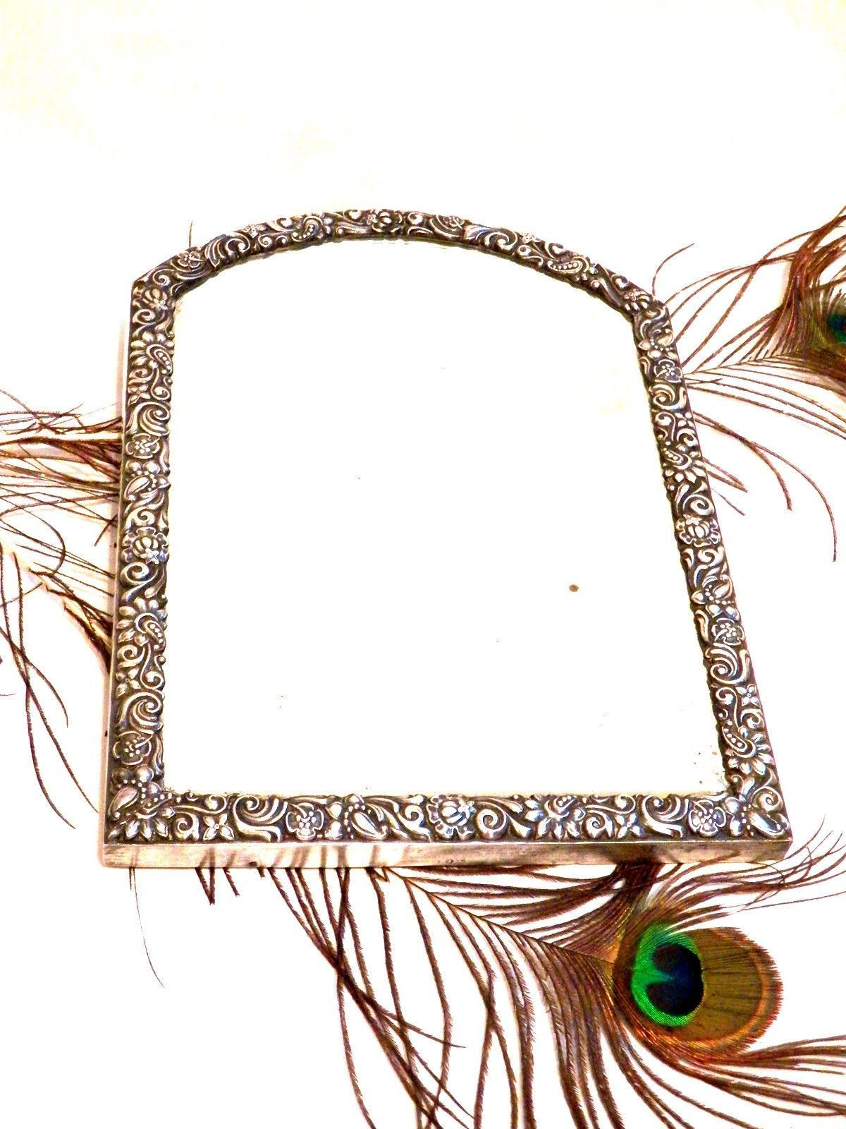 Sterling Silver Mirror, Antique Mirror 19th, Sterling Silver.