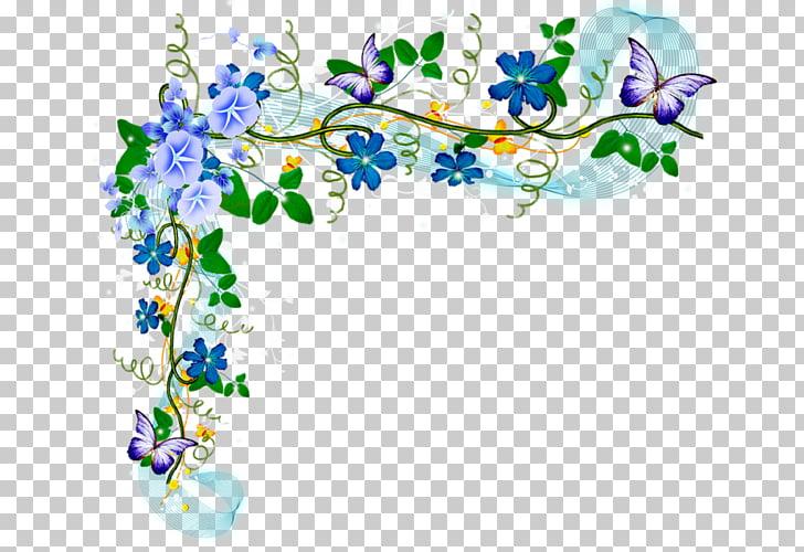 Marcos de papel en decoupage, color acuarela flores. PNG.