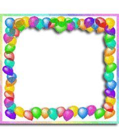 Marco para fotos hecho con globos de colores. Para.