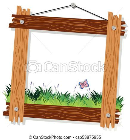 La plantilla de madera con hierba verde y mariposa. La.