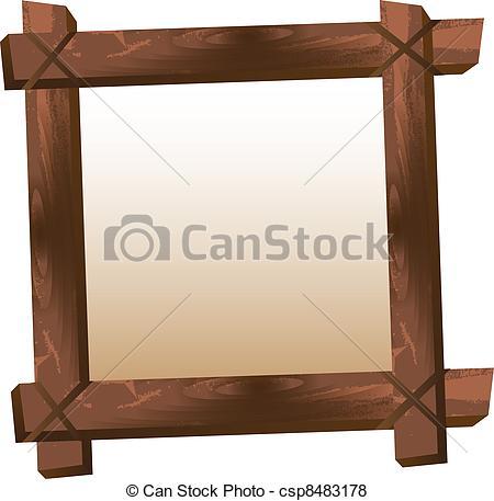 Un marco de madera en blanco aislado sobre fondo blanco. vector..