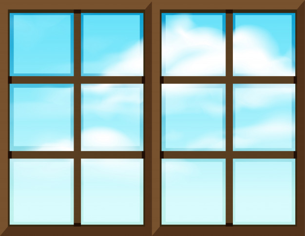 Plantilla de marco de ventana con vista exterior.