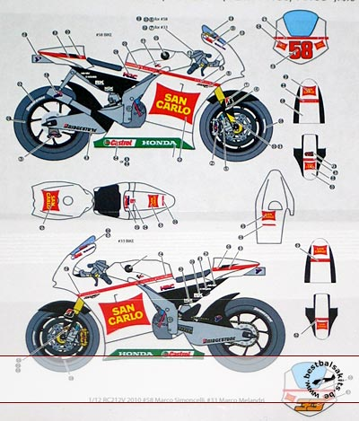 SIMONCELLI MELANDRI MOTO GP '10 DECAL for TAMIYA 1.