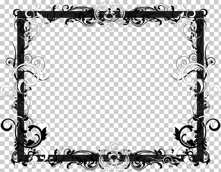 Marcos en blanco y negro con diseño floral, marco negro. PNG.