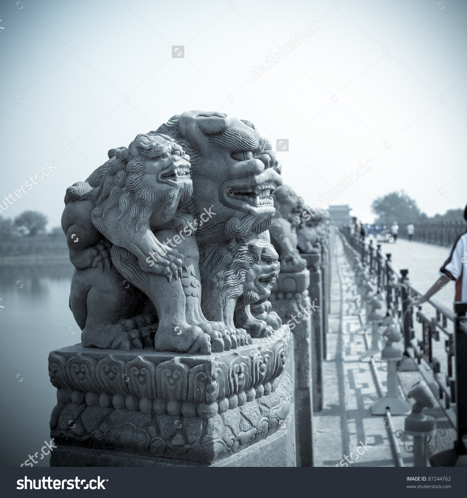Chinese Marco Polo Bridge Of The Stone Lion Statue Stock Photo.
