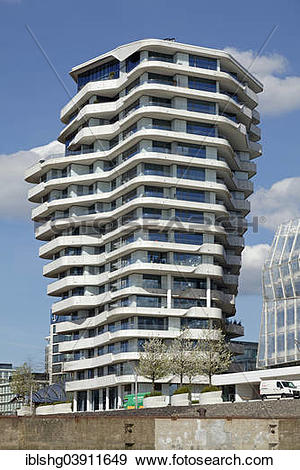 "Stock Photograph of ""Marco Polo Tower, HafenCity, Hamburg, Germany."