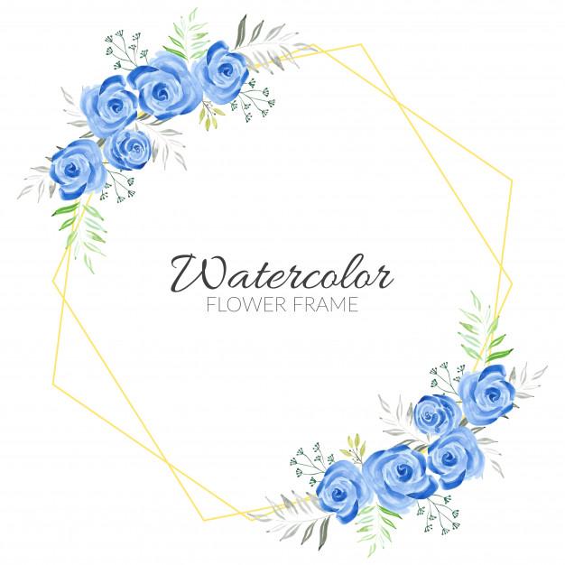 Marco rústico floral azul acuarela pintada a mano.