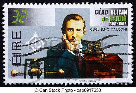 Stock Photography of Postage stamp Ireland 1995 Guglielmo Marconi.
