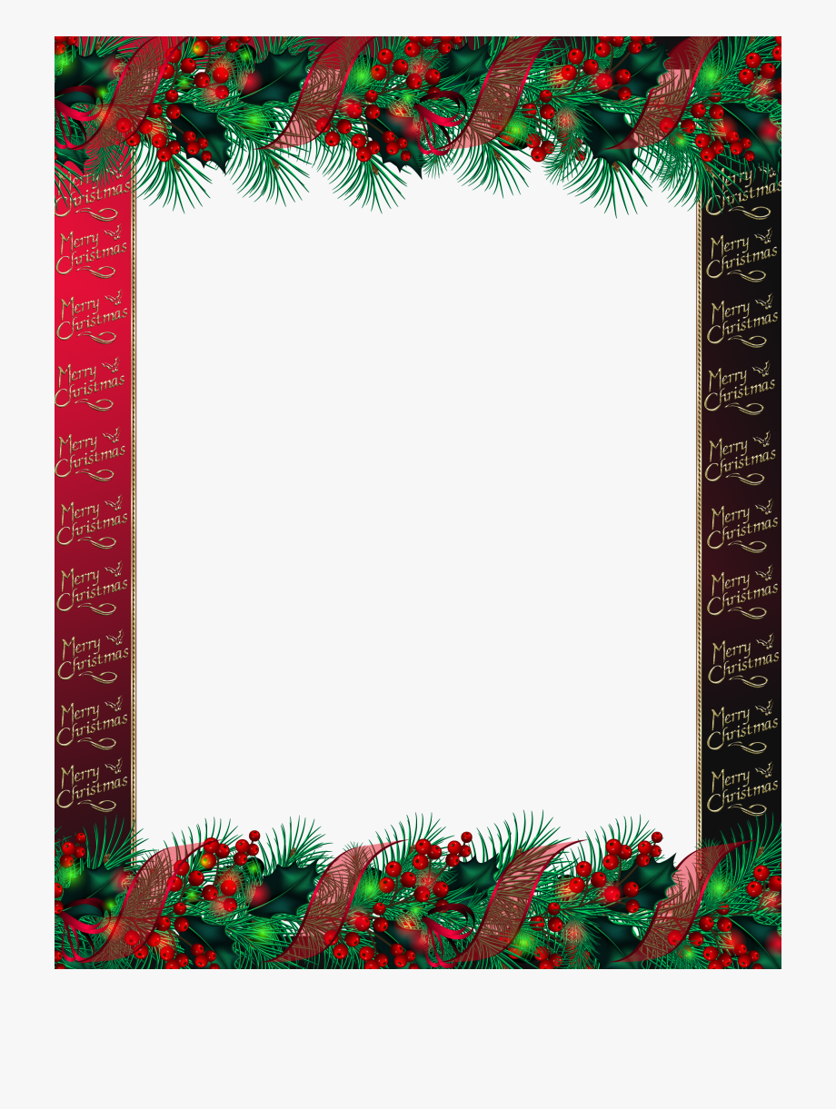 Transparent Red Merry Christmas Png Photo Frame.