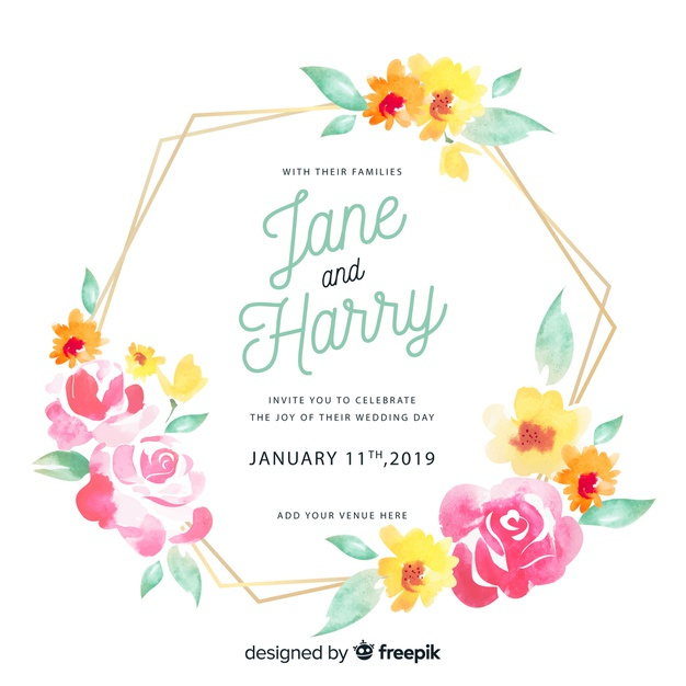 Invitación de boda marco floral acuarela.