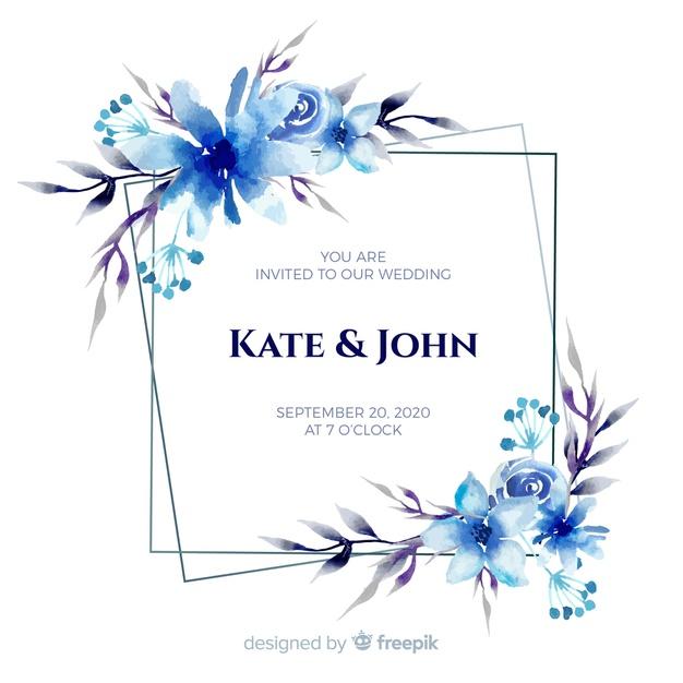 Invitación de boda marco floral acuarela azul.
